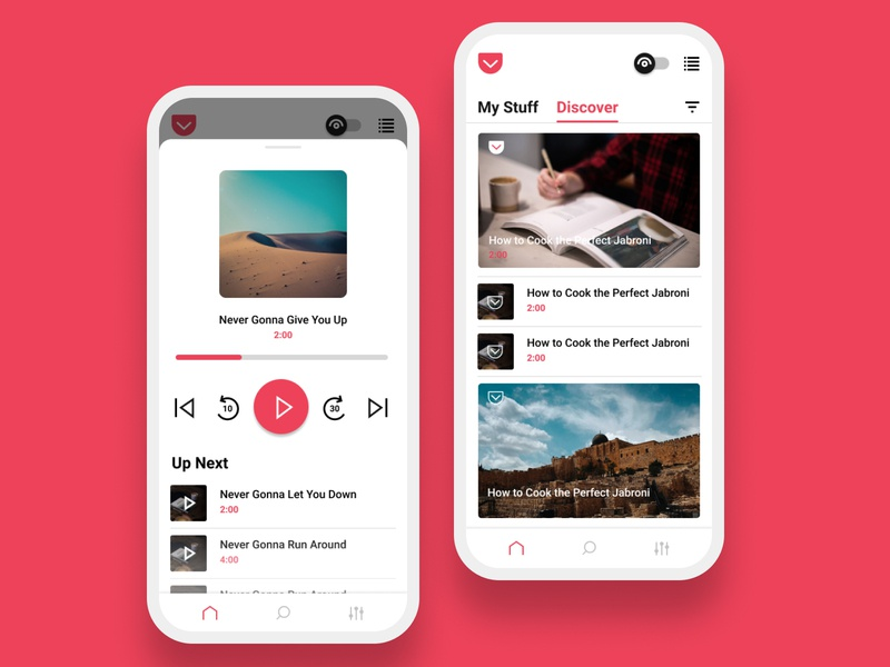 Pocket App Redesign - Audio Mode Exploration audio player listen podcast audio books bookmark typography reading mozilla pocket coffee android app icon ux ui