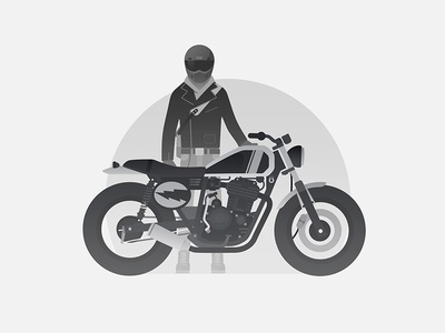 Me and my motorcycle helmet motor shoes old school highlights illustration moped motorbike motorcycle