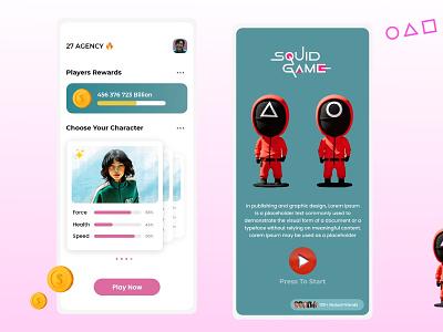 Squid Game App Ui Design Concept. trending today best uieveryday illustration app ux minimal ui design tranding squidgame
