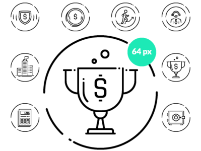 A set of vector icons in line art style.