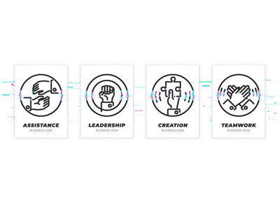Set of icons in glitched style for team building web service