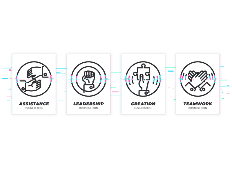 Set of icons in glitched style for team building web service leadership command team building glitch art glitchart glitch linear icons line illustration business vector illustrator app icon icon icon design design ui artacet graphic design