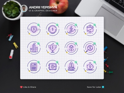 Custom set of vector icons for a web site
