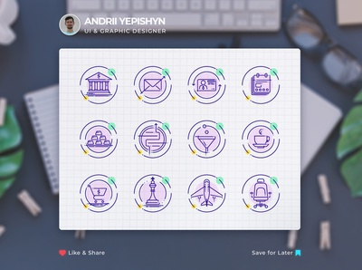 Custom set of vector icons for a web site or email