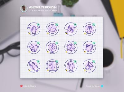Team building. Custom set of vector icons