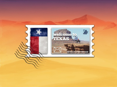 Stamp to Texas illustration adobe photoshop dribbbleweeklywarmup