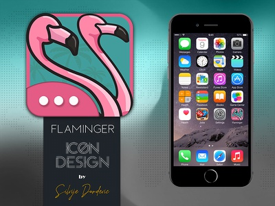 Communications App Icon Design - Flaminger flamingo communication application icon icon design