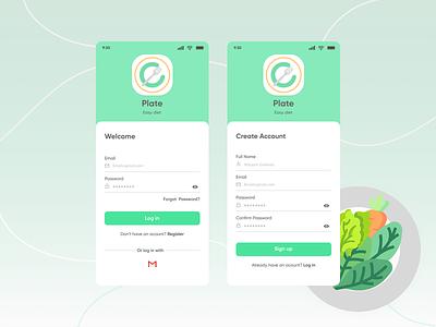 Login / Register app design design ui diet app register login