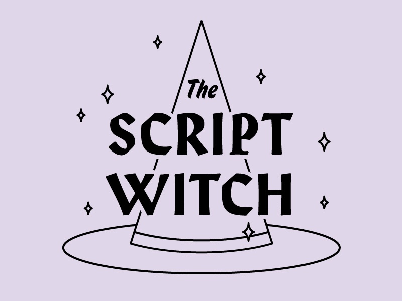 Script Witch magic spells hat witch typography