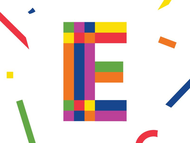 Confetti Letter 'E' lettering custom geometric pride type confetti