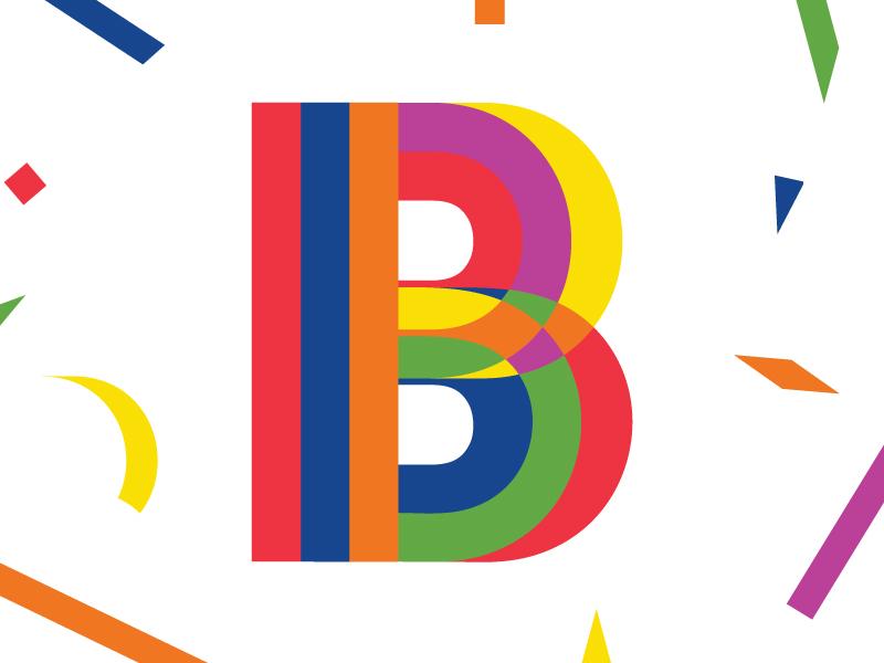 Confetti Letter 'B' lettering custom geometric confetti type pride