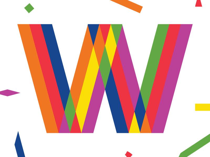 Confetti Letter 'W' confetti type pride geometric custom lettering