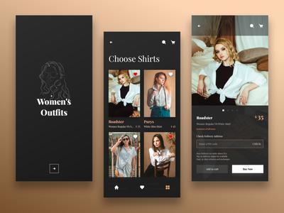 Women's Outfits Store App - 1 estore store clean ui ladies models model outfits fashion app clothes ui dailyuichallenge daily ui daily 100 challenge design 100 days of ui 100 days of design