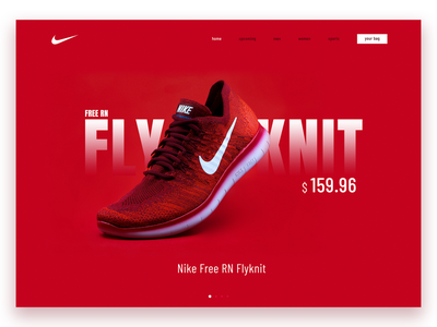 Nike Free Rn Fly-knit Shoe Webpage attractive clean ui red webpage red shoe air nike shoes landing page webpage dailyuichallenge daily ui ui daily 100 challenge design 100 days of ui 100 days of design