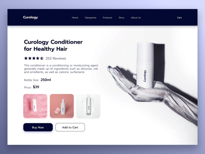 Curology Hair Conditioner Webpages clean ui