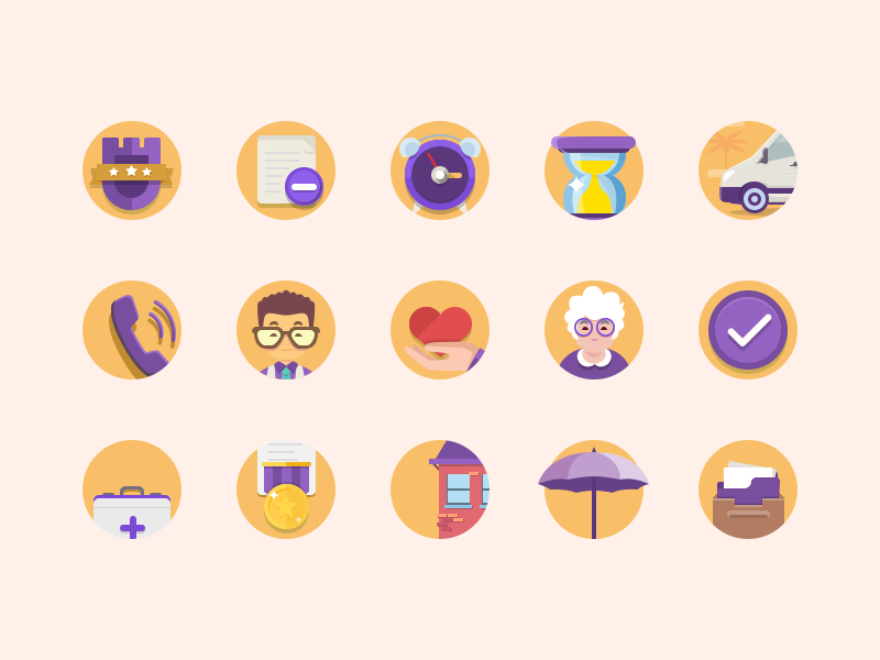 Set of icons for the site for the elderly care call granny health alarm clock document caregiver home care icon seticons