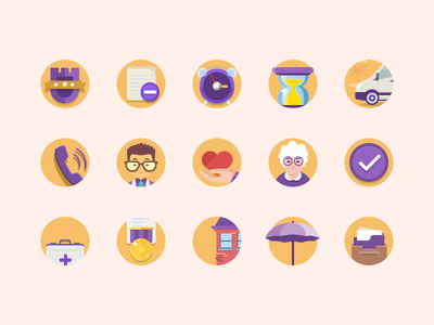 Set of icons for the site for the elderly care