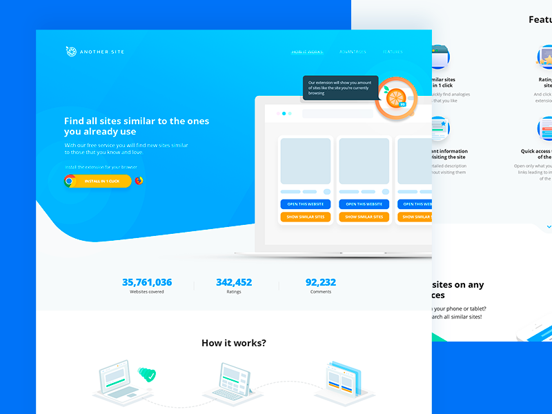 Landing page for another.site, chrome extension. extension landing another similar ui chrome extension landing page