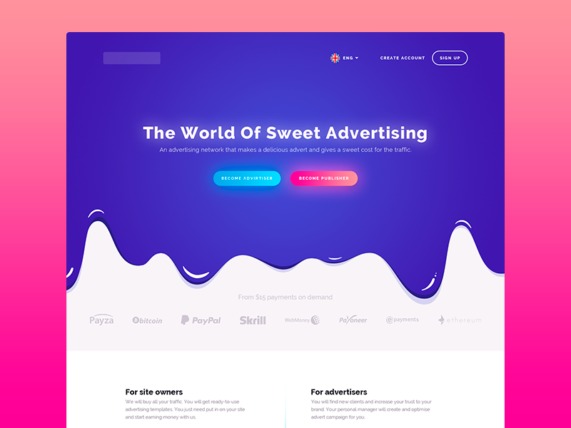 Advertising Network landing page network advertising network fuchsia purple design color ui advertising sweet bitter landing page landing