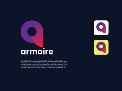 Armoire Logo Design Template- a letter design graphics design colour logo design unique logo design illustration ui branding logo motion graphics graphic design 3d animation