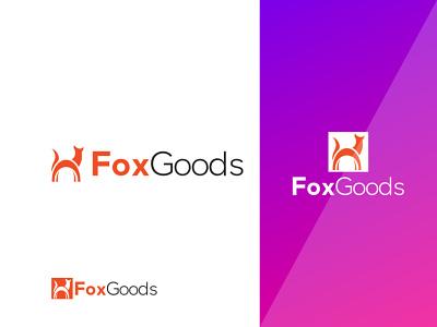 Fox Goods Logo Design Template elements goods animal foxy ui 3d design logo illustration graphic design colour logo design branding unique logo design