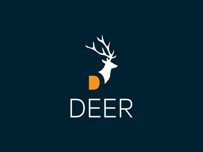 D Letter  Negative Space Logo Design Template animal deer logo d letter negative space 3d logo graphics design illustration graphic design colour logo design branding unique logo design