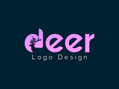 Deer  Negative Space Logo Design Template 3d negative space deer illustration logo ui design graphics design graphic design colour logo design branding unique logo design