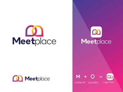 Meetplace Mockup m letter location meet design logo ui graphics design illustration 3d graphic design colour logo design branding unique logo design