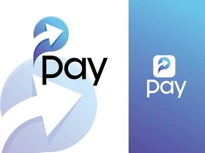 Pay Logo Design Mockup unique transfer pay p letter graphics design branding logo motion graphics 3d animation ui illustration graphic design colour logo design unique logo design