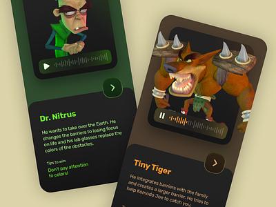 Crash Bandicoot game app ui application minimal app ux uidesign design