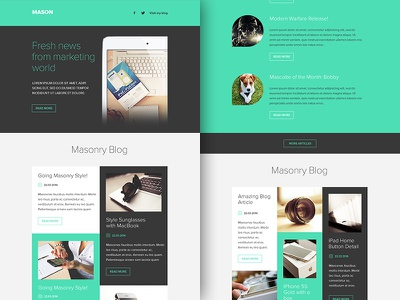 Freebie PSD+Sketch: Mason (Responsive Html Email Newsletter) themeforest template sketch rocketway psd newsletter mailchimp html freebie email download campaignmonitor