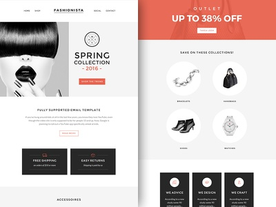 Freebie PSD+Sketch: Fashionista (Responsive Email Newsletter) themeforest template sketch rocketway psd newsletter mailchimp html freebie email download campaignmonitor