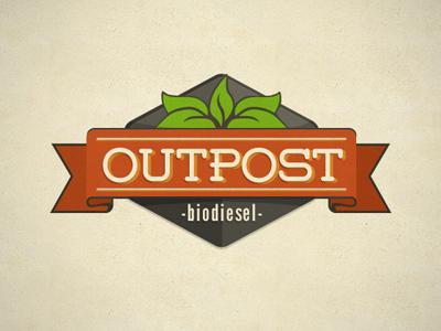 Outpost logo retro green orange leaf ribbon