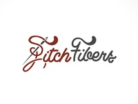 FitchFibers sewing logotype red needle typography logo