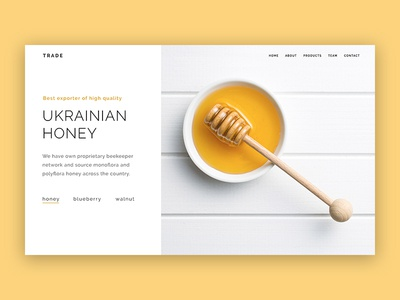 Trade Home Page home page trade export food walnut blueberry slider simple clean honey white yellow