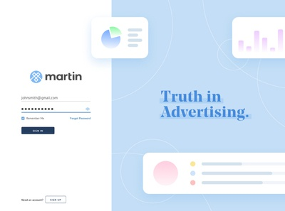Martin Sign In ad tech minimal icons blue flat ui illustration sign in branding onboarding