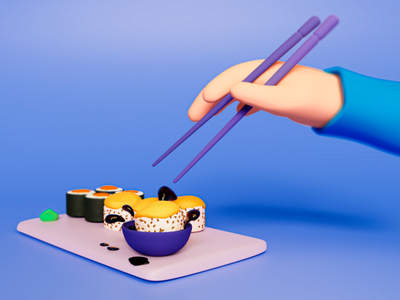 Grubby eating illustration c4d cheese blue asian food rolls blender soft 3d sushi