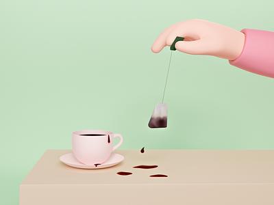 Grubby tea drinking divorces drop c4d beige pink green grubby hand teabag cup plate pastel drinking soft blender 3d