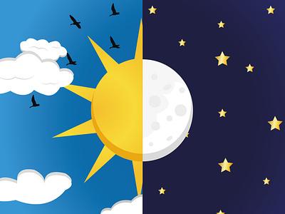Sun and moon sun and moon graphic design illustration vector creative illustrator design