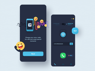 Voice Changer - UI Mobile App voice interface ui funny onboarding record calls mobile app