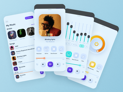 Music Equalizer - Mobile App app interface mobile design minimal clean ui ux ios neumorphism player music equalizer albums play pop-up ui kit import guidlines filter