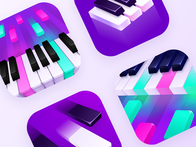 Mobile App Icons - Piano music keyboard app icon tiles piano keyshot illustration ios icon app mobile
