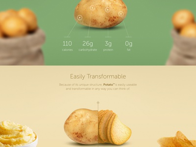 Potato landing page website potato potatoes simple minimalistic clean web ui funny landing page product page visual design