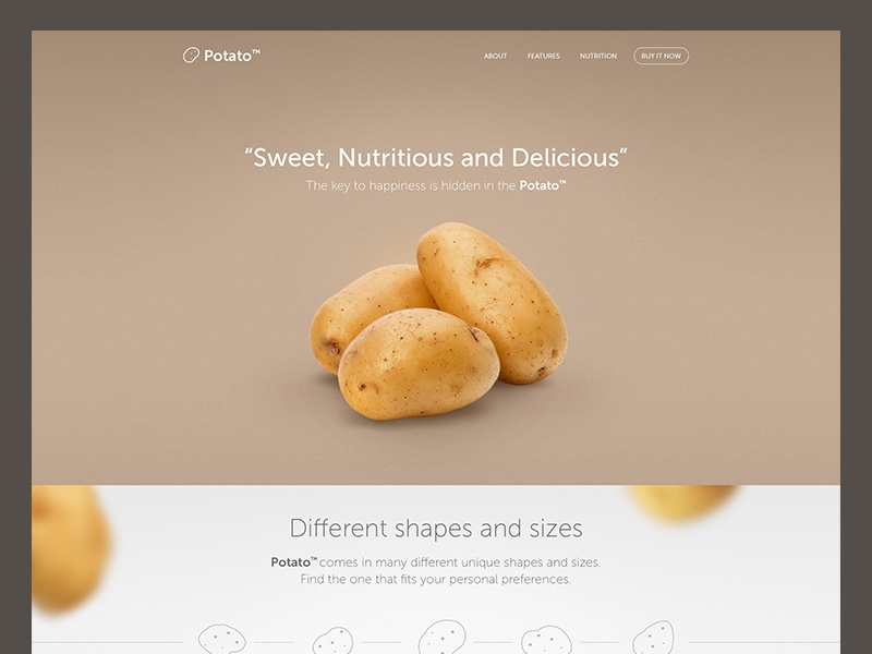 Potato landing page website potato potatoes simple minimalistic clean web ui funny landing page product page visual design