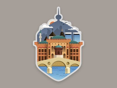 Sarajevo - Bosnia & Herzegovina sticker miljacka vijecnica sebilj illustration graphic design sticker herzegovina bosnia sarajevo