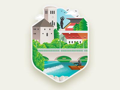 Bihac Illustration kapetanova kula una bridge river graphic design sticker illustration bihac