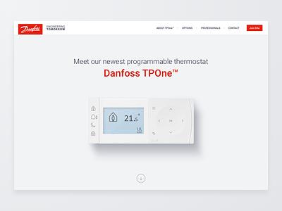 Danfoss TPOne™ Product Website minimal thermostat page product landing website tpone tp1 danfoss