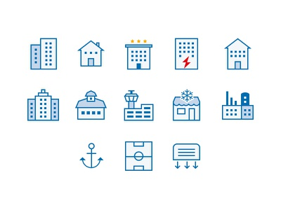 Areas of use icons pixel perfect blue outline icons icon areas buildings