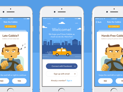 Taxi Rating App Design illustration swipe character animation ux ui design app rating taxi