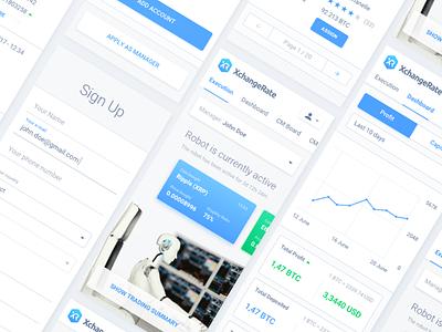 CryptoCurrency Trading Platform trading robot web platform design responsive ux ui mobile currecny crypto